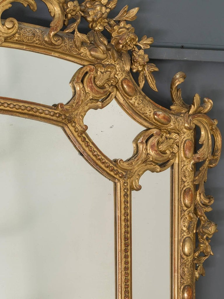 Large antique french gold leaf pareclose mirror circa for Antique french mirror