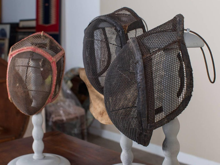 Set of Three Antique French Fencing Masks, circa 1910 Each on a Stand In Excellent Condition For Sale In Houston, TX