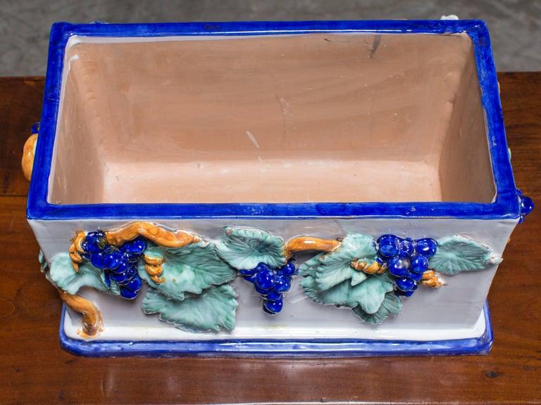 Late 19th Century Vintage Italian Ceramic Planter Jardinière by Solimene, Vietri For Sale