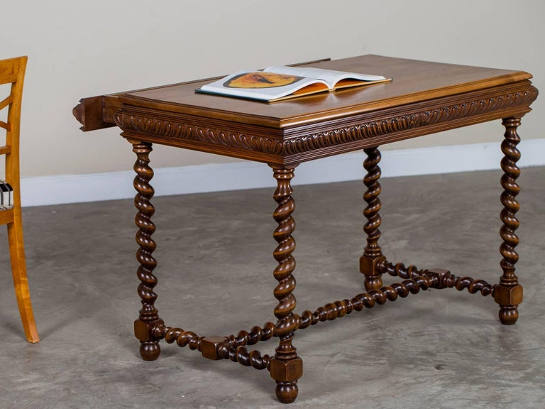 vintage french henri ii style walnut table with drawer circa 1920 at 1stdibs. Black Bedroom Furniture Sets. Home Design Ideas