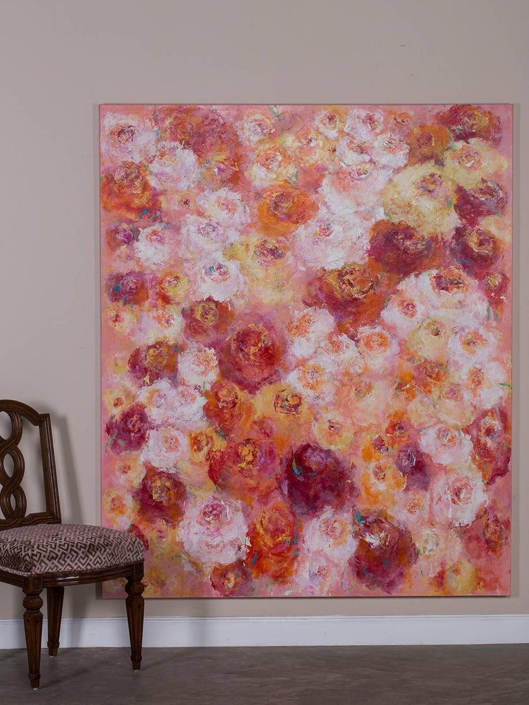 """The artistic exuberance of artist Sheema Muneer is on full display in """"Summer Roses"""". This enormous, wall size, original canvas is full of the extravagant colour and shape seen in arrangements of luscious roses clustered together. The asymmetric"""