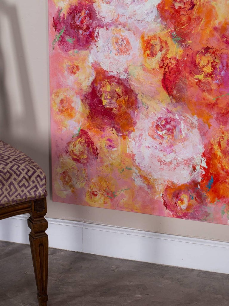 """""""Summer Roses"""", Original Canvas, Sheema Muneer In Excellent Condition For Sale In Houston, TX"""