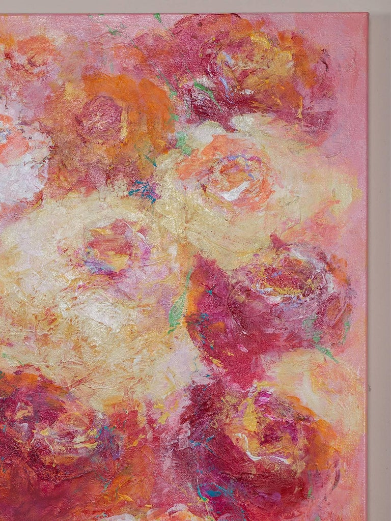 """Hand-Painted """"Summer Roses"""", Original Canvas, Sheema Muneer For Sale"""