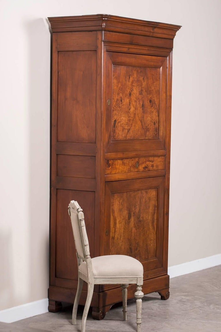 antique french louis philippe walnut armoire cabinet. Black Bedroom Furniture Sets. Home Design Ideas