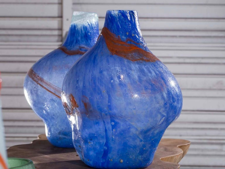 Dutch Pair of Modern Blue Orange Handblown Glass Vases from Holland For Sale