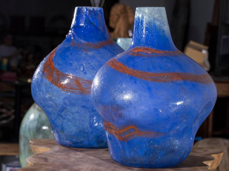 Pair of Modern Blue Orange Handblown Glass Vases from Holland In Excellent Condition For Sale In Houston, TX
