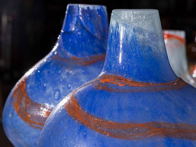 Pair of Modern Blue Orange Handblown Glass Vases from Holland For Sale 1
