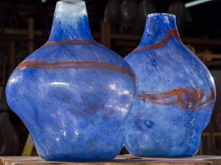 Pair of Modern Blue Orange Handblown Glass Vases from Holland For Sale 3