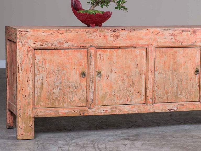 Chinese Export Indian Rose Pink Long Painted Buffet Credenza Circa 1940 For