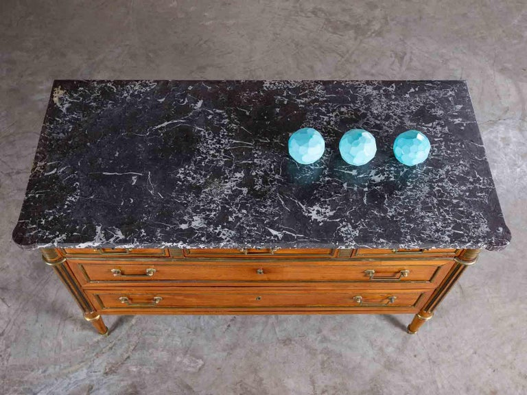 Antique French Louis XVI Neoclassical Walnut Brass Chest Commode Marble-Top For Sale 1