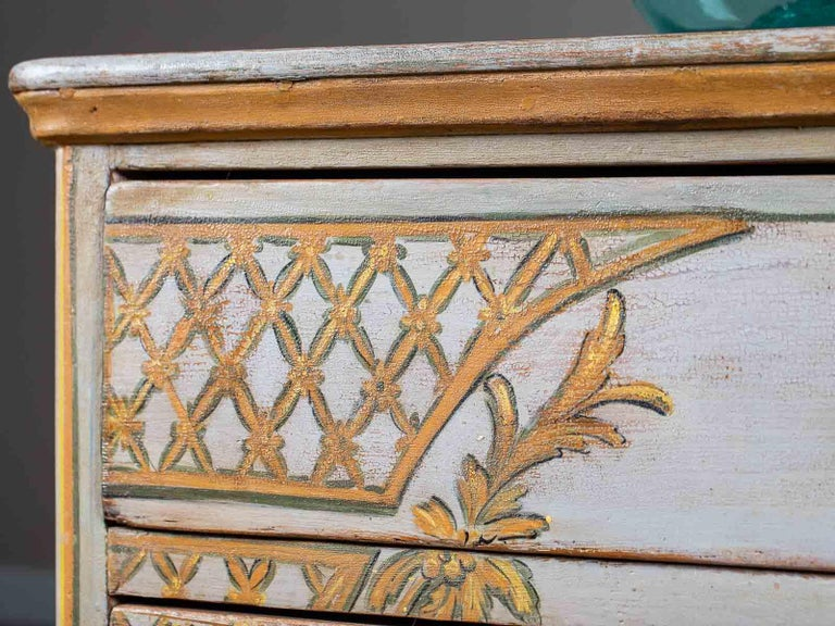 Wood Antique German Biedermeier Painted Chest Three-Drawers For Sale