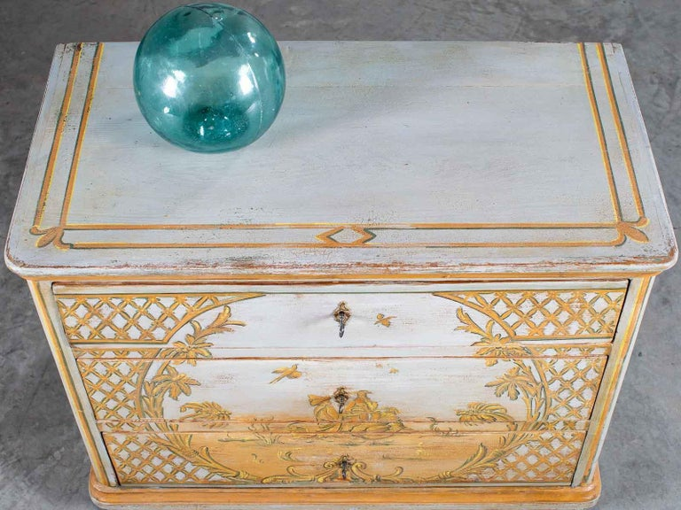 Hand-Painted Antique German Biedermeier Painted Chest Three-Drawers For Sale