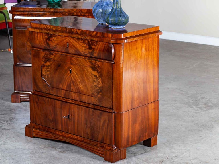 Hand-Crafted Pair of Biedermeier Period North German Mahogany Chest of Drawers, circa 1820 For Sale