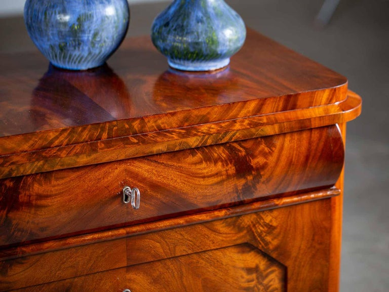 Pair of Biedermeier Period North German Mahogany Chest of Drawers, circa 1820 For Sale 1
