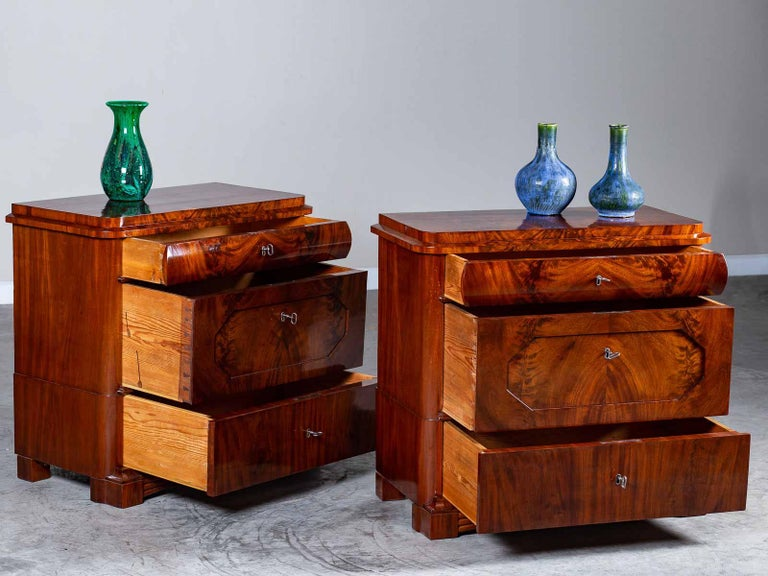 Pair of Biedermeier Period North German Mahogany Chest of Drawers, circa 1820 For Sale 8
