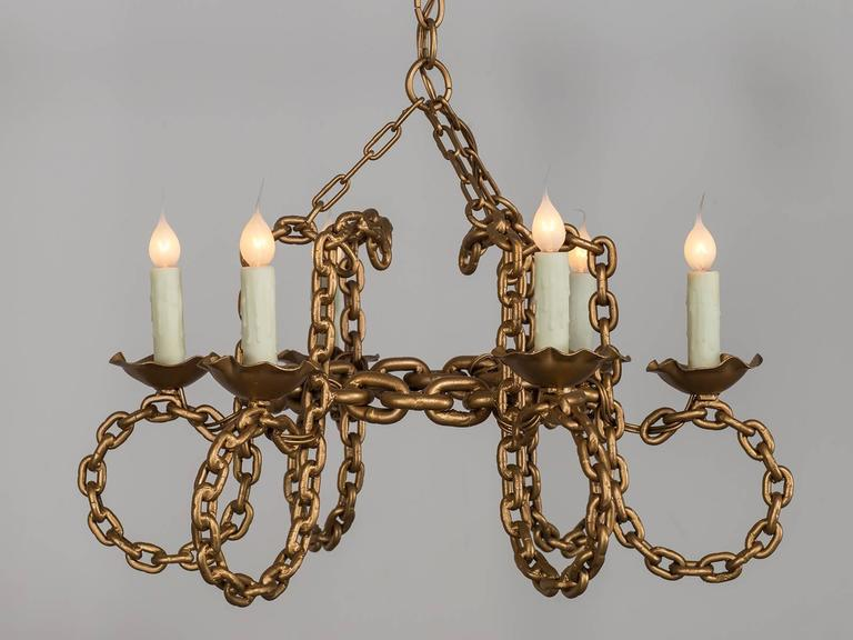 Vintage french six light gold chain link chandelier circa 1930 at receive our new selections direct from 1stdibs by email each week please click follow dealer mozeypictures Gallery