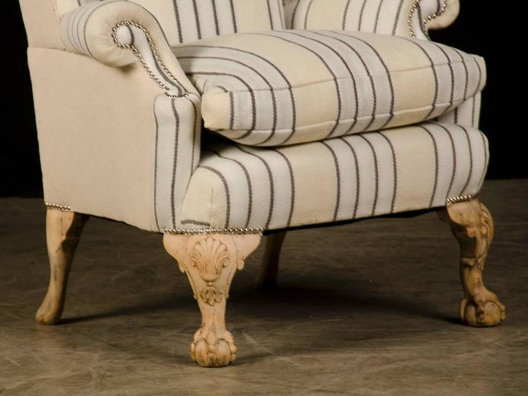 Linen Chippendale Style Pale Mahogany Antique English Wing Chair, circa 1880 For Sale