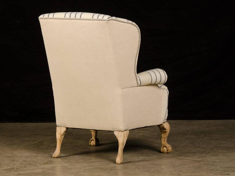 Late 19th Century Chippendale Style Pale Mahogany Antique English Wing Chair, circa 1880 For Sale