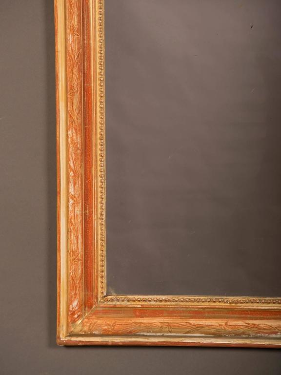 Etched Louis Philippe Style Antique French Gold Leaf Mirror, circa 1880 For Sale