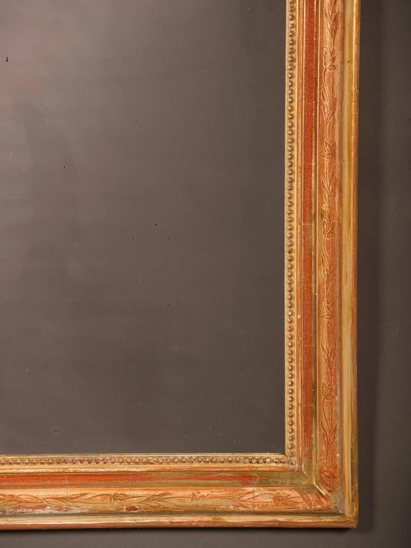 Louis Philippe Style Antique French Gold Leaf Mirror, circa 1880 In Excellent Condition For Sale In Houston, TX