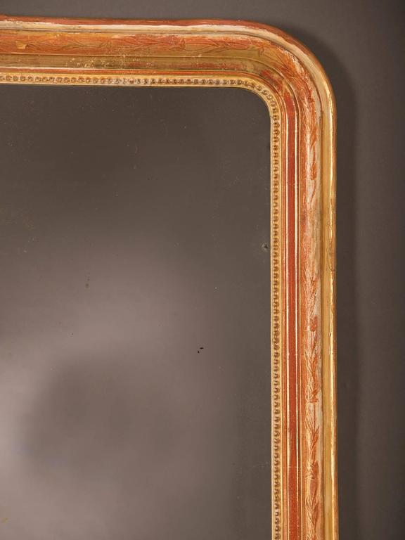 Late 19th Century Louis Philippe Style Antique French Gold Leaf Mirror, circa 1880 For Sale