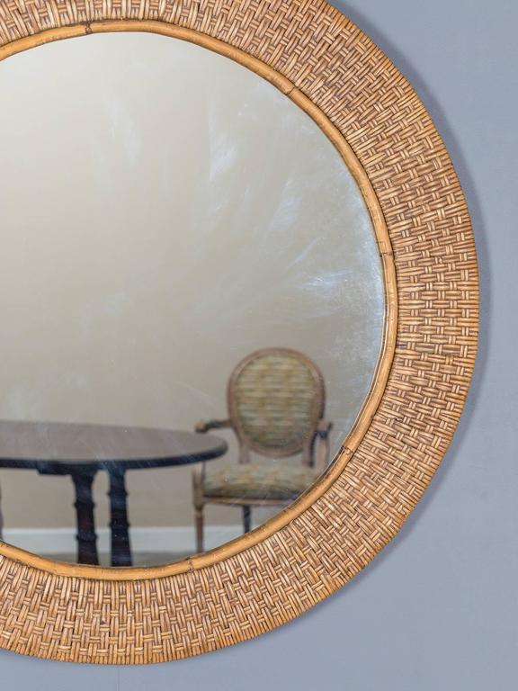 Vintage Round Woven Rattan Mirror France Circa 1930 At