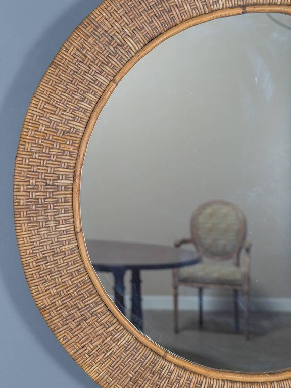 Vintage Round Woven Rattan Mirror France Circa 1930 At