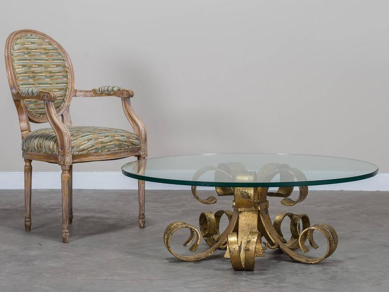 Gilded forged iron vintage french cocktail table circa