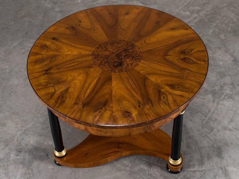 Giltwood Biedermeier Period Antique German Walnut Table, Berlin, circa 1825 For Sale