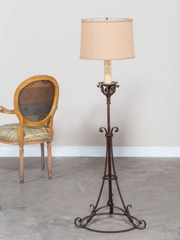 Antique french forged iron candle stand floor lamp circa 1900 for receive our new selections direct from 1stdibs by email each week please click follow dealer mozeypictures Image collections