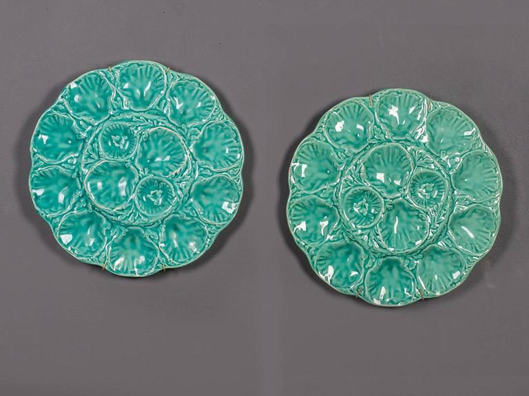 A set of two antique French enormous platters circa 1900 for serving oysters in a marvelous pale turquoise glaze stamped on the reverse