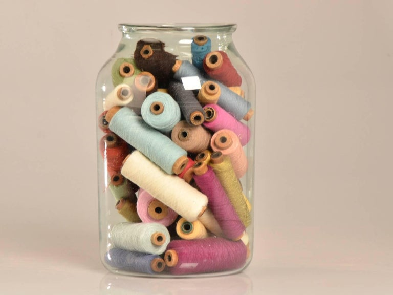 Hand Blown Antique Glass Bottle filled with Bobbins circa 1920 3