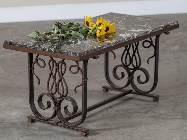 Vintage French Art Nouveau Iron And Marble Coffee Table Circa 1920 For Sale At 1stdibs