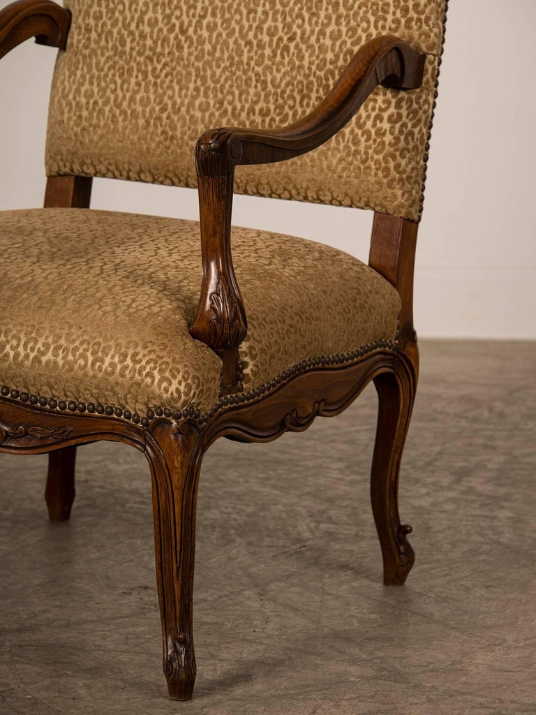 Carved Antique French Louis XV Style Walnut Armchair 'Fauteuil', circa 1880 For Sale