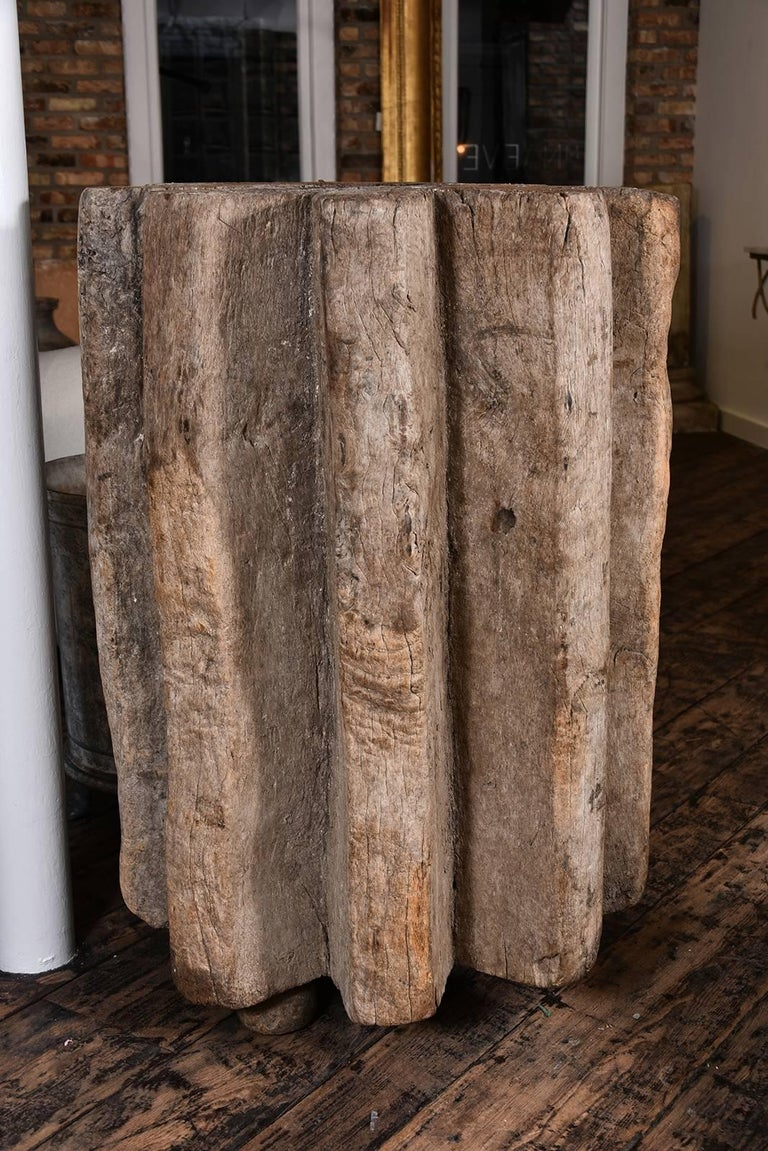 French Primitive Wood Pedestal For Sale