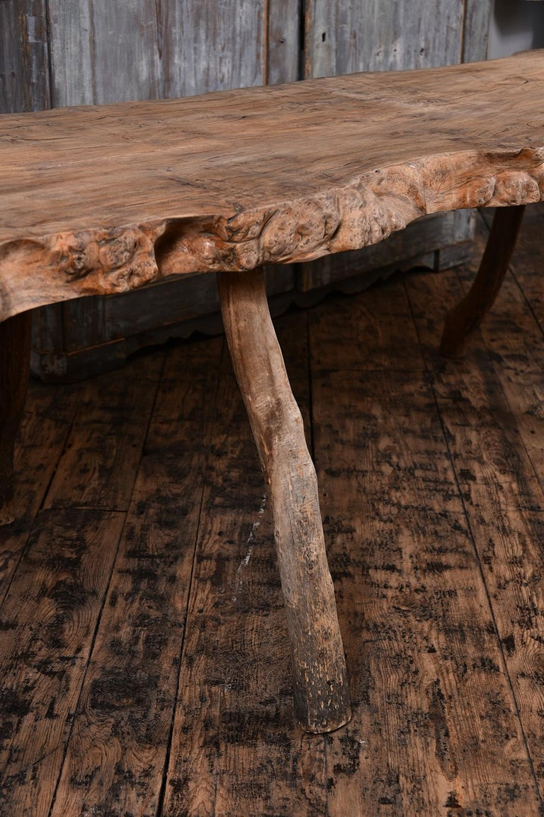 French Primitive Table with Live Edge For Sale