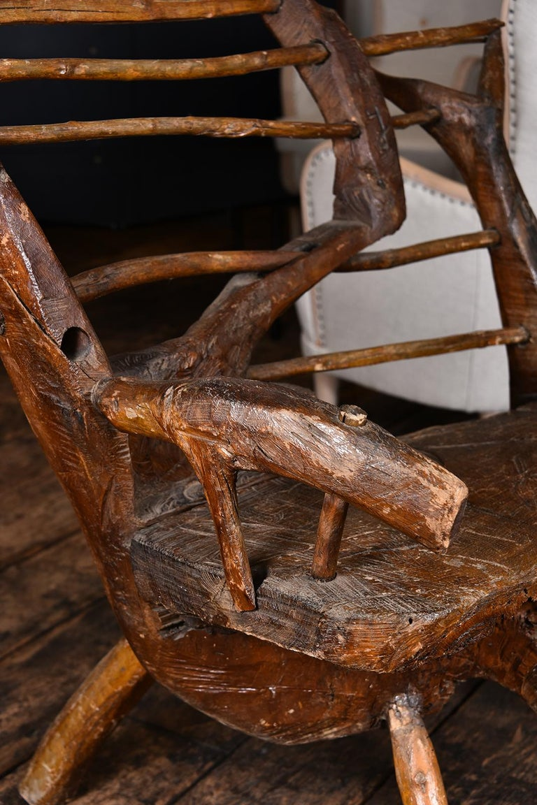 18th Century and Earlier Primitive Italian Chair For Sale