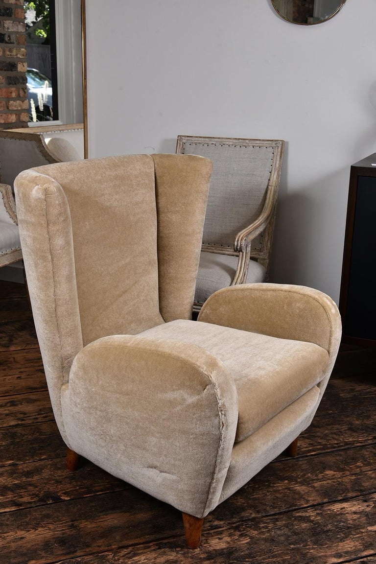 Pair of 1930s Scandinavian club chairs covered in Pierre Frey Mohair.