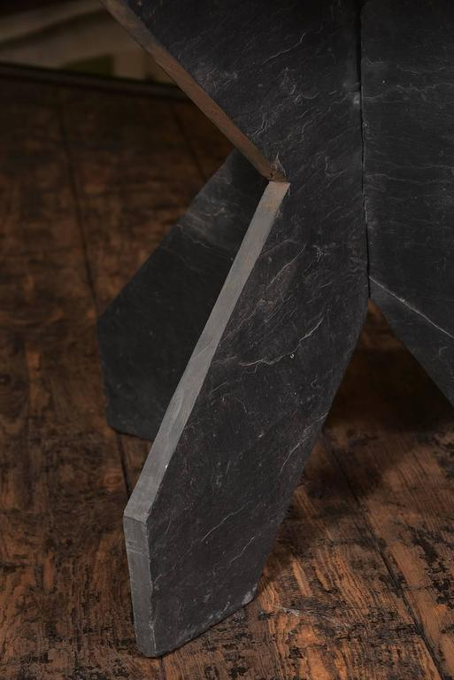 Beautiful French slate table with unique shape from the 1930s.