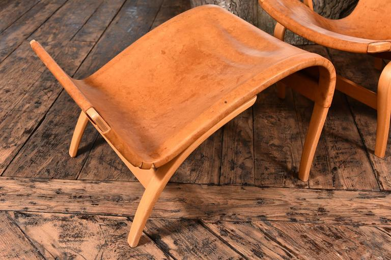 Scandinavian Modern Pair of Bruno Mathsson Pernilla Chairs with Ottomans For Sale