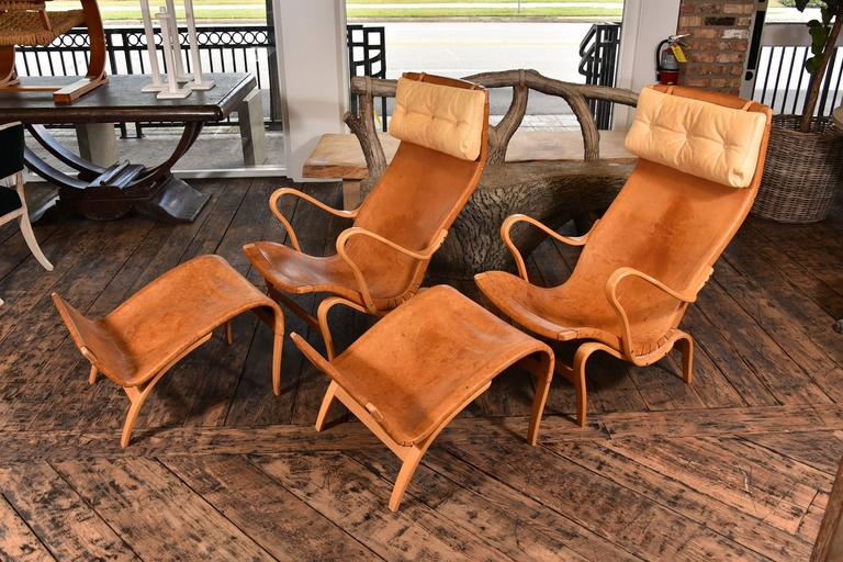 Swedish Pair of Bruno Mathsson Pernilla Chairs with Ottomans For Sale