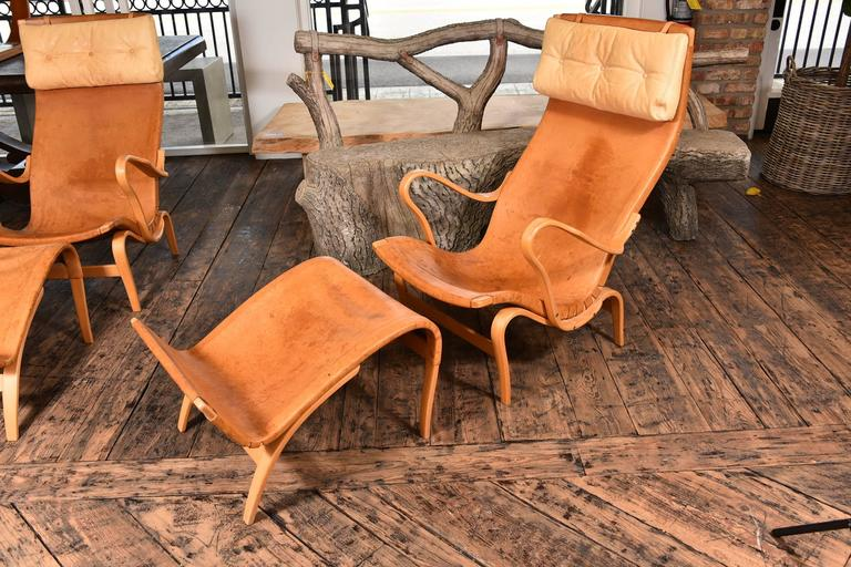Late 20th Century Pair of Bruno Mathsson Pernilla Chairs with Ottomans For Sale