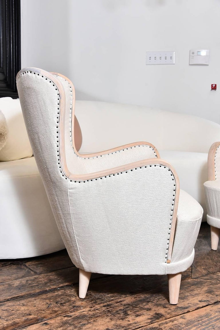 Pair of Swedish Wing Chairs In Excellent Condition For Sale In Houston, TX