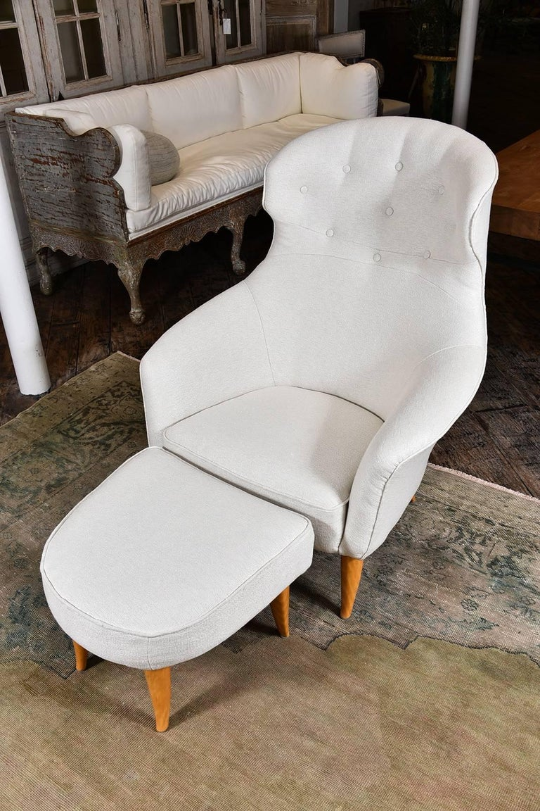 Swedish Lounge Chair with Ottoman by Kerstin Hörlin-Holmquist For Sale