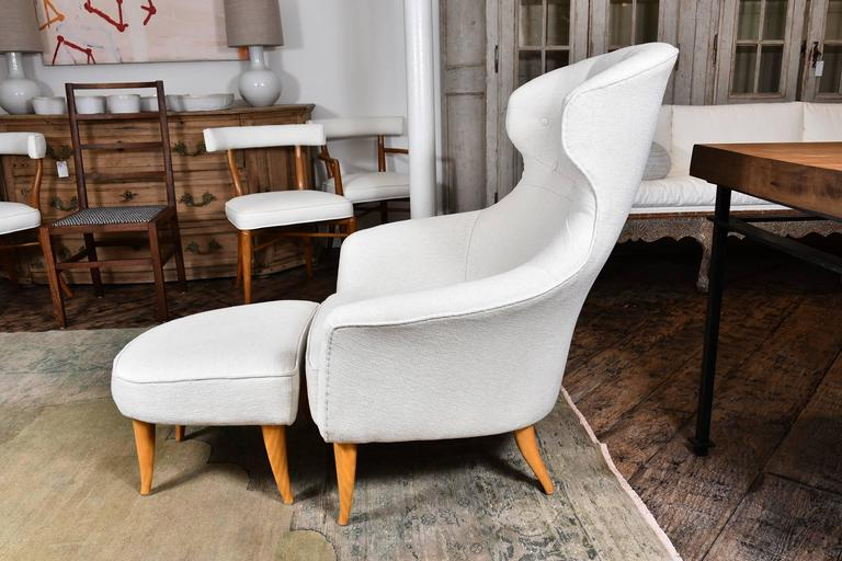 Lounge Chair with Ottoman by Kerstin Hörlin-Holmquist For Sale 1