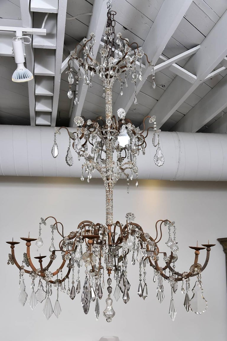 Italian Crystal Chandelier In Good Condition For Sale In Houston, TX