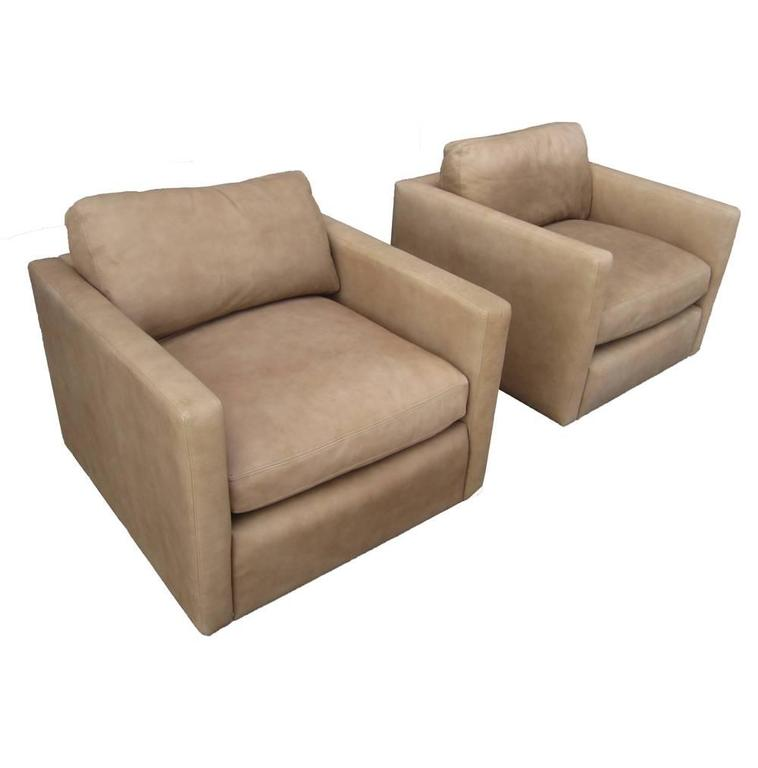 Vintage Pair of Pfister Lounge in Suede with Down Cushions