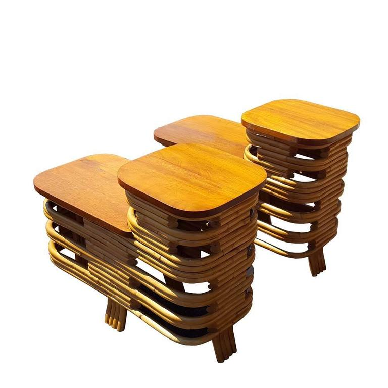 Vintage mid century paul frankl style rattan side tables for Reduced furniture