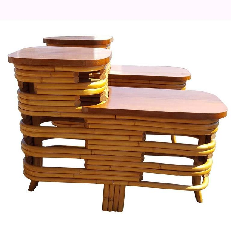 Vintage Mid Century Paul Frankl Style Rattan Side Tables