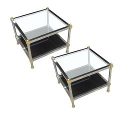 Pair of Chrome, Brass and Glass Side Tables